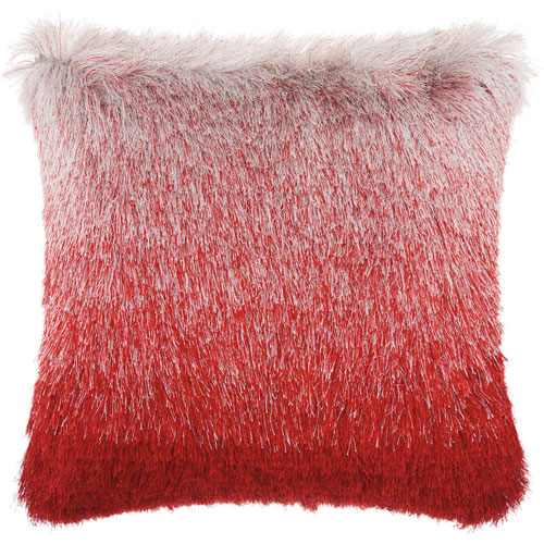 Mina Victory Shag Illusion Shag Red Silver 20 In. Throw Pillow