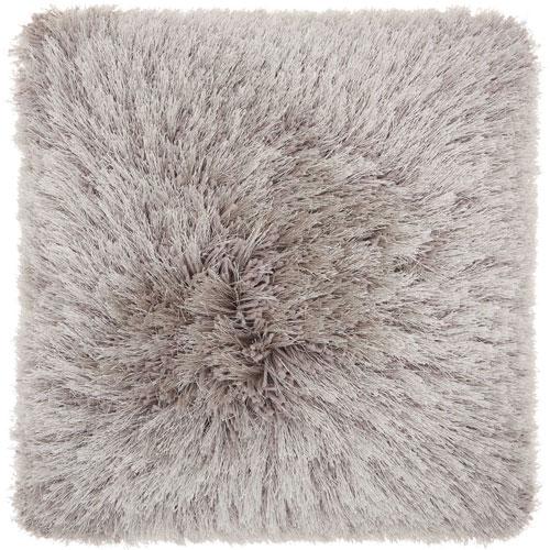 Shag Yarn Shimmer Shag Light Grey 17 In. Throw Pillow