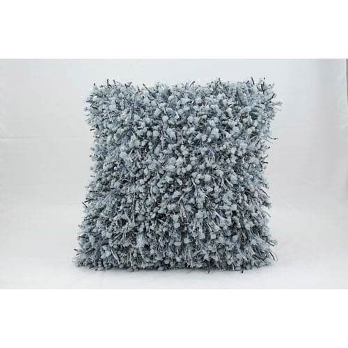 Blue 18-Inch Shag Pillow