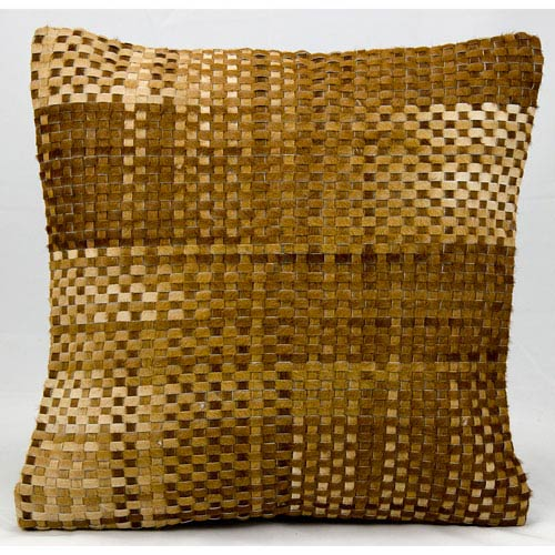Natural Leather Hide Amber 20-Inch Pillow