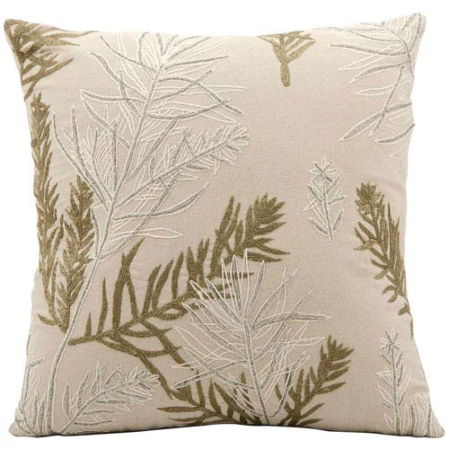 Nourison Lumin Feather Branch Beige 16-Inch Pillow