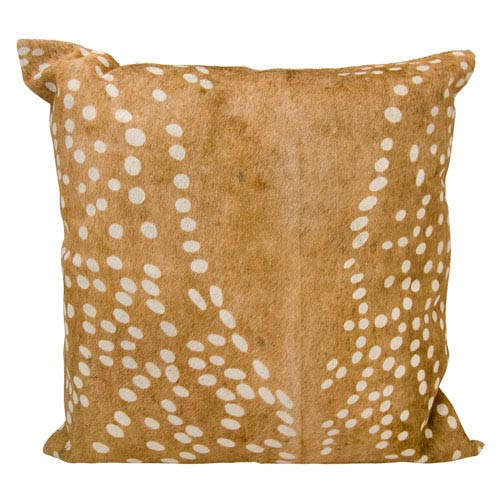 Natural Leather Hide Brown 20-Inch Pillow