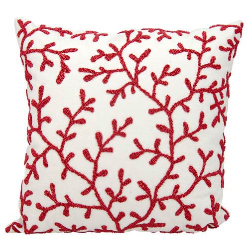 Red and White 18-Inch Outdoor Pillow