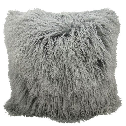 Fur Silver Grey 16-Inch Pillow