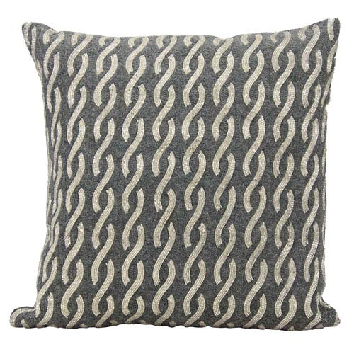Nourison Lumin Beaded Infinities Silver 18-Inch Pillow