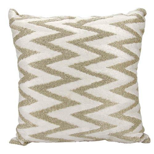 Lumin Beaded Chevron Silver 18-Inch Pillow
