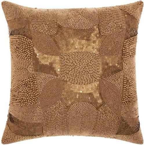 Lumin Antique Beading Light Gold 18-Inch Pillow
