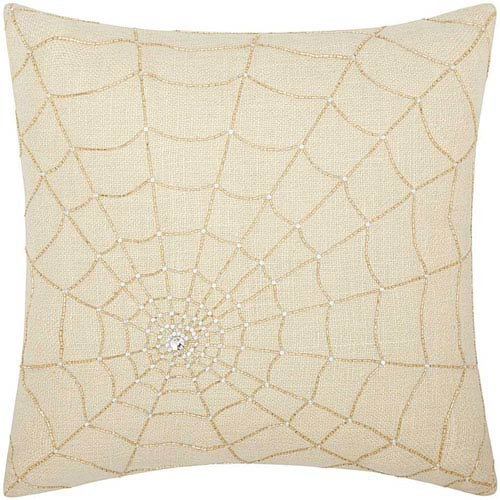 Nourison Lumin Beaded Spider Web Gold 18-Inch Pillow
