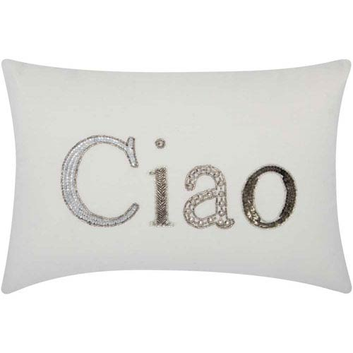 Lumin Beaded Ciao White 12 x 18-Inch Pillow
