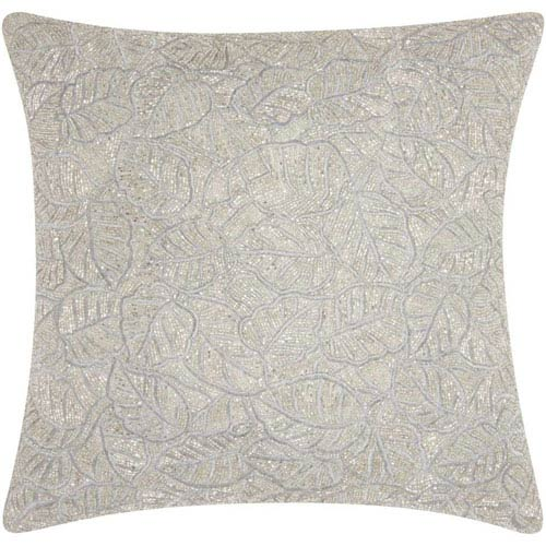 Lumin Beaded Leaves Silver 20-Inch Pillow