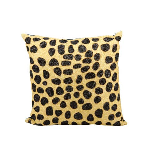 Lumin Beaded Leopard Beige and Black 20-Inch Pillow