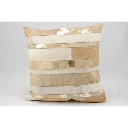 Natural Leather Hide Beige 20-Inch Pillow