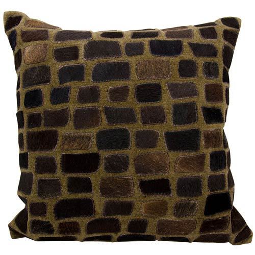 Natural Leather Hide Chocolate 20-Inch Pillow