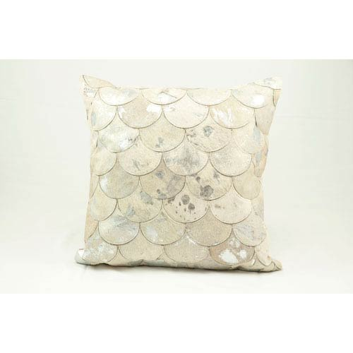 Natural Leather Hide White Silver 20-Inch Pillow