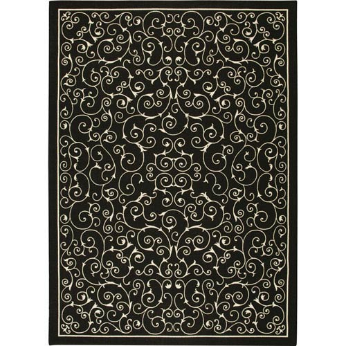 Home And Garden Black Rectangular: 5 Ft. 3-Inch x 7 Ft. 5-Inch Rug