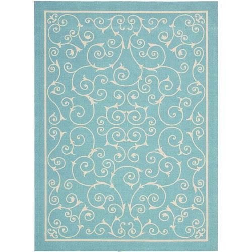 Nourison Home And Garden Blue Rectangular: 2 Ft. 3-Inch x 3 Ft. 9-Inch Rug