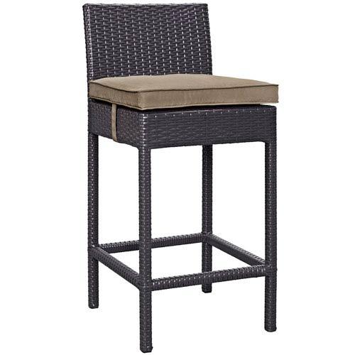 Modway Furniture Convene Outdoor Patio Fabric Bar Stool in Espresso Mocha