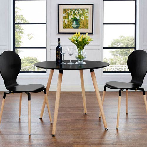 Modway Furniture Track Circular Dining Table in Black