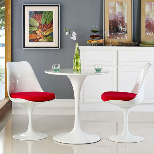 Lippa 28-inch Wood Top Dining Table in White
