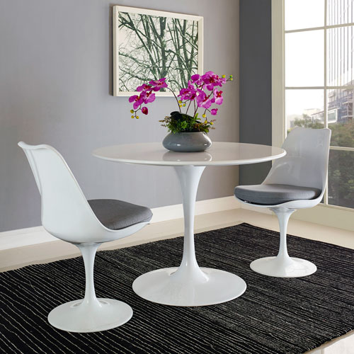 Lippa 40-inch Wood Top Dining Table in White