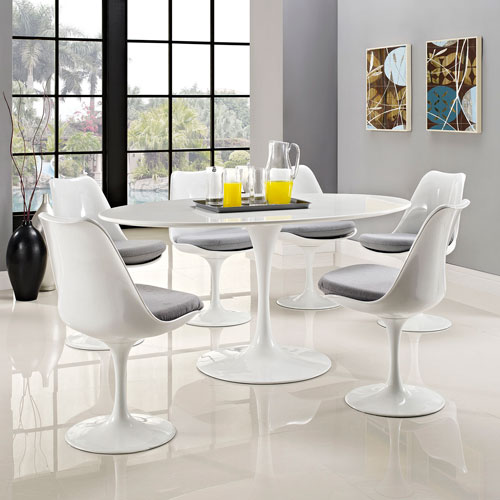 Modway Furniture Lippa 60 Inch Oval Shaped Wood Top Dining Table In