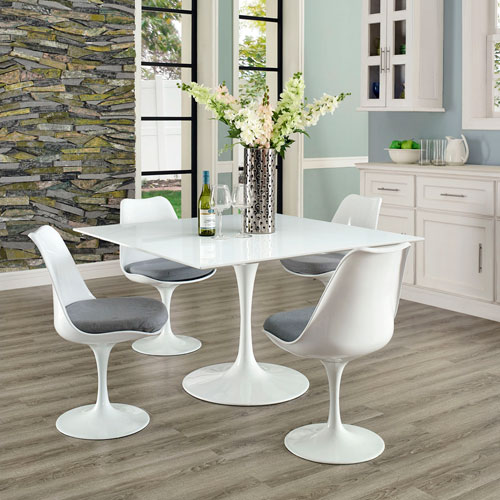 Modway Furniture Lippa 47-inch Square Wood Top Dining Table in White