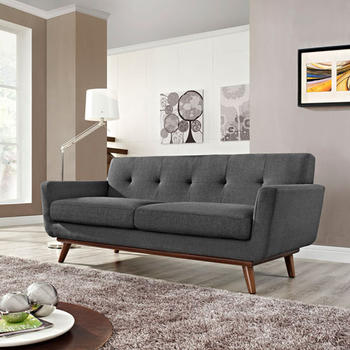 Modway Furniture Engage Upholstered Loveseat in Gray