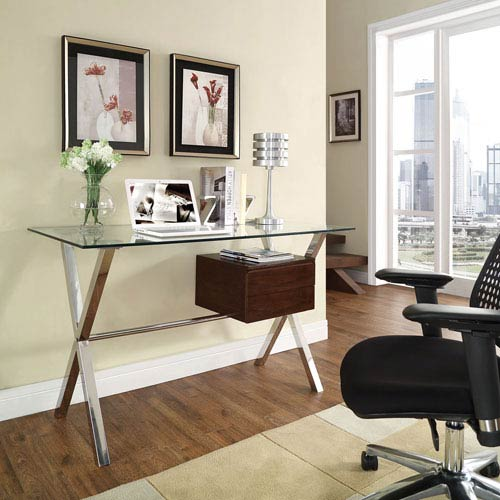 Glass Top Office Desks Executive Modway Furniture Stasis Office Desk In Walnut Eatcontentco Contemporary Glass Top Office Desk Bellacor