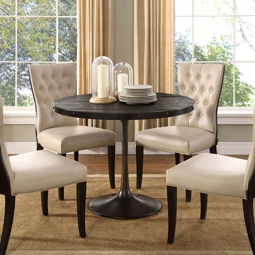 Drive Wood Top Dining Table in Black