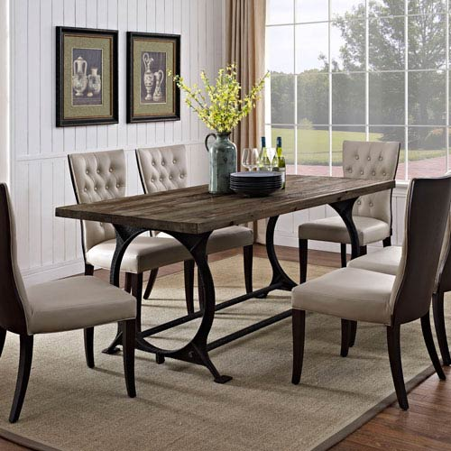 Modway Furniture Effuse Wood Top Dining Table In Brown