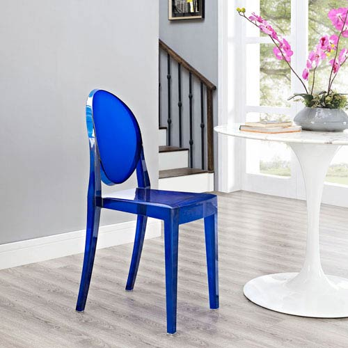 Modway Furniture Casper Dining Side Chair in Blue