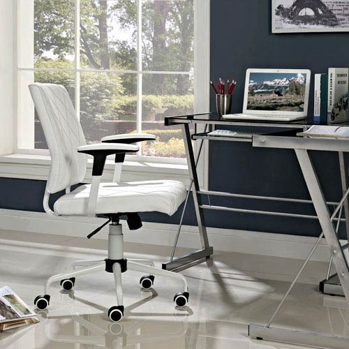 Modway Furniture Lattice Vinyl Office Chair In White