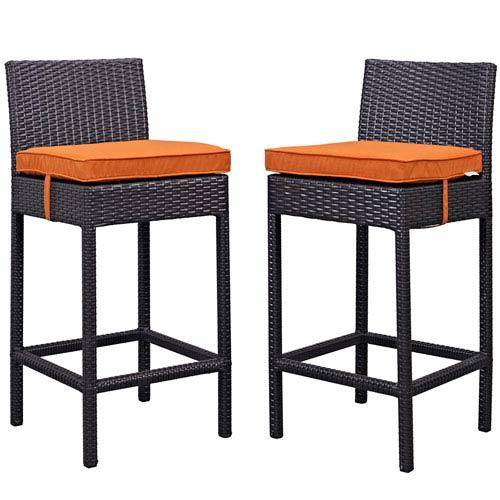 Modway Furniture Lift Bar Stool Outdoor Patio Set of 2 in Espresso Orange