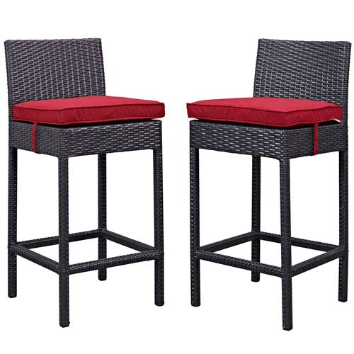 Modway Furniture Lift Bar Stool Outdoor Patio Set of 2 in Espresso Red