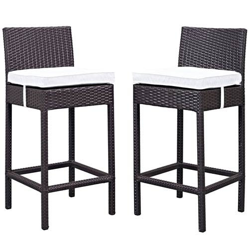 Modway Furniture Lift Bar Stool Outdoor Patio Set of 2 in Espresso White