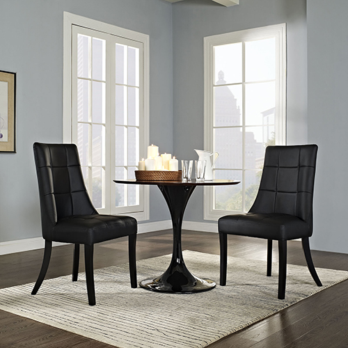 Noblesse Vinyl Dining Chair Set of 2 in Black
