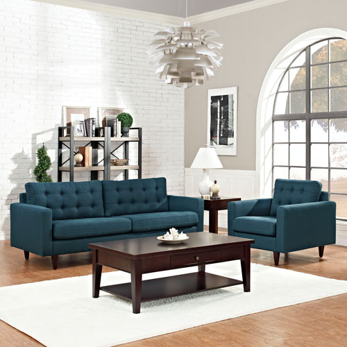 Modway Furniture Empress Armchair and Sofa Set of 2 in Azure