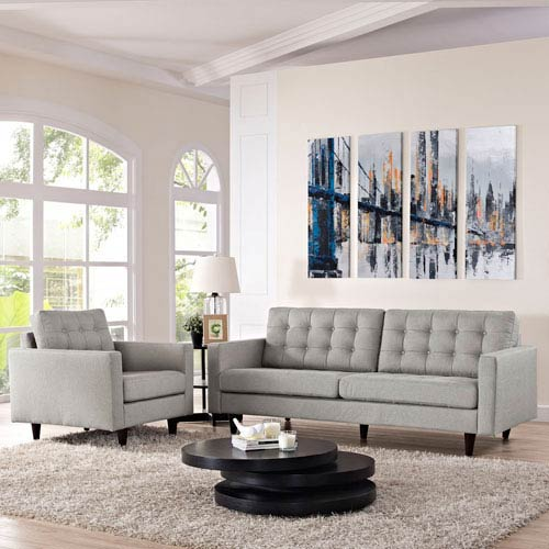 Modway Furniture Empress Armchair and Sofa Set of 2 in Light Gray