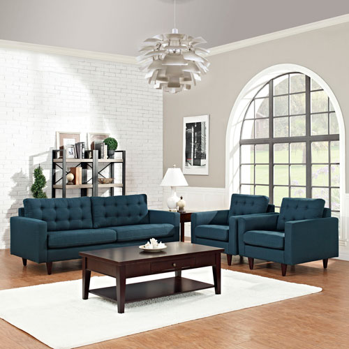 Modway Furniture Empress Sofa and Armchairs Set of 3 in Azure