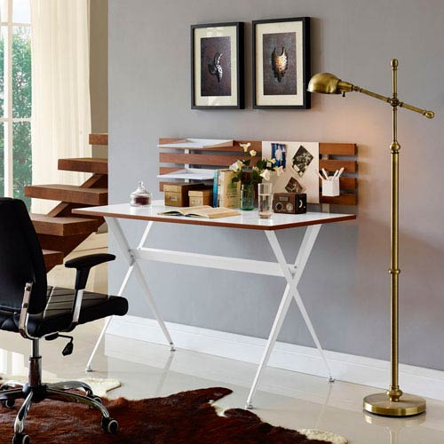 Miraculous Modway Furniture Knack Wood Office Desk In Cherry Home Interior And Landscaping Ologienasavecom