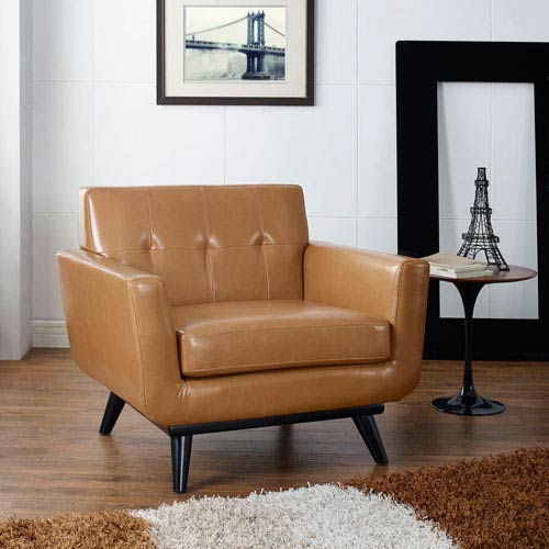 Modway Furniture Engage Bonded Leather Armchair in Tan
