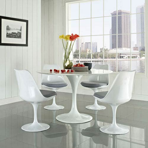 Modway Furniture Lippa Dining Side Chair Fabric Set of 4 in Gray