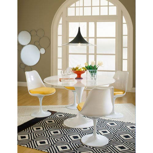 Lippa Dining Side Chair Fabric Set of 4 in Yellow