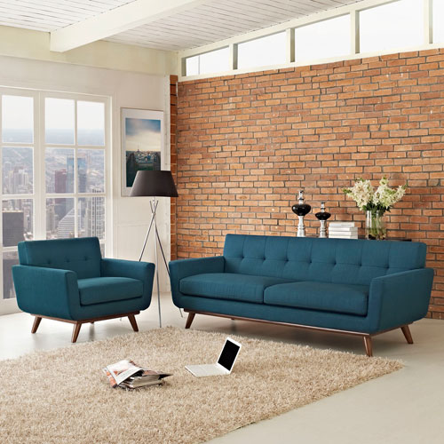 Modway Furniture Engage Armchair and Sofa Set of 2 in Azure