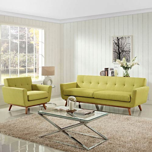 Modway Furniture Engage Armchair and Sofa Set of 2 in Wheatgrass
