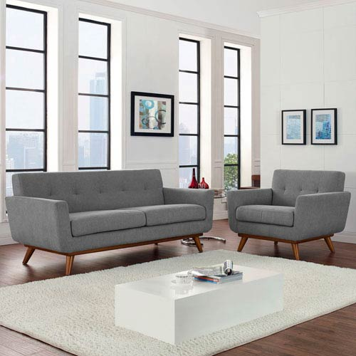 Modway Furniture Engage Armchair and Loveseat Set of 2 in Gray
