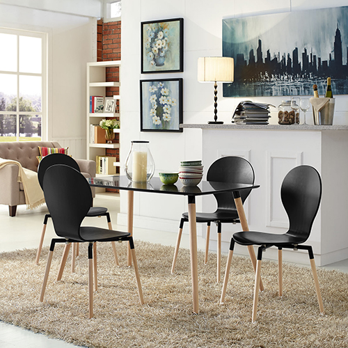 Path Dining Chair Set of 4 in Black