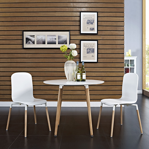 Modway Furniture Stack Dining Chairs Wood Set of 2 in White