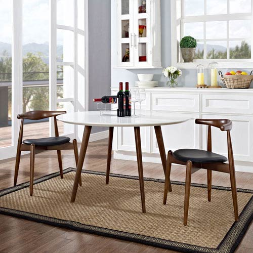 Modway Furniture Stalwart Dining Side Chairs Set of 2 in Dark Walnut Black