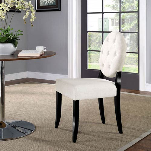 Button Dining Side Chair in Beige